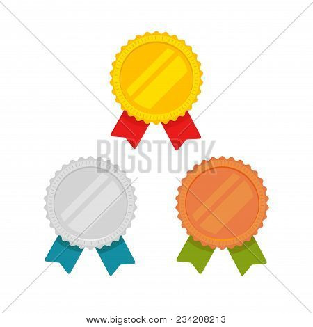 Medals Vector Set Isolated, Flat Cartoon Gold, Bronze And Silver Medal With Red, Green And Blue Ribb