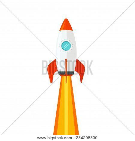 Rocket Ship Flying Isolated On White Background Vector Illustration, Flat Cartoon Design Of Rocketsh