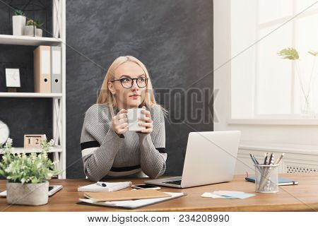 Ambitious Pensive Business Woman Having Coffee And Thinking About Successful Strategy, Dreaming Abou