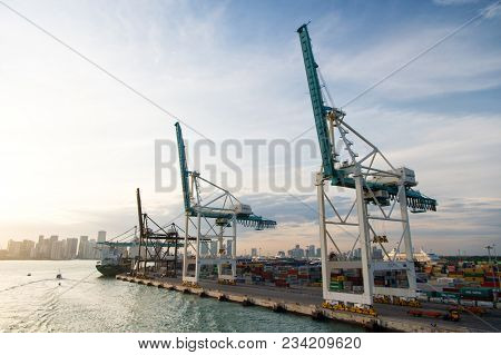 Miami, Usa - March, 18, 2016: Sea Port, Terminal Or Dock. Maritime Container Port With Cargo Ship, C