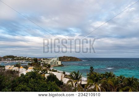 Philipsburg, Sint Maarten Town On Seascape. View Of Tropical Beach, Blue Sea On Cloudy Sky, Nature.