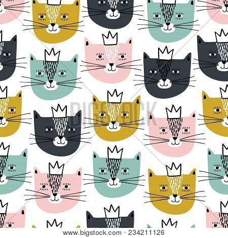 Cute Cats Faces Vector Photo Free Trial Bigstock