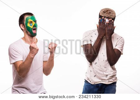 Happy Football Fan Of Brazil Celebrate Win Over Upset Football Fan Of France National Teams With Pai