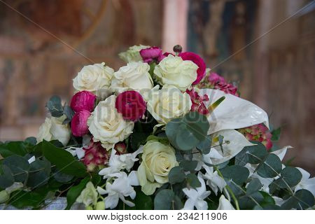 Floral Decorations At The Wedding Ceremony. Assorted Ideas For Florals Used In The Wedding Ceremony