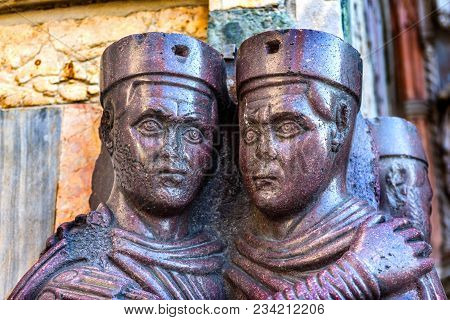 Four Tetrachs Purple Statue Saint Mark's Church Venice Italy