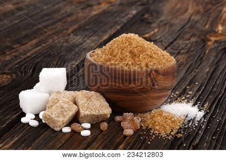 Various Types Of Sugar, Brown Sugar, White Sugar, Crystal Sugar, Artificial Sweetener, Cane Sugar On