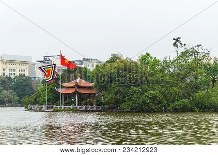 The Temple Of The Jade Mountain On Hoan Kiem Lake In A Cloudy Day, Hanoi, Vietnam