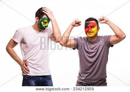 Happy Football Fan Of Germany Celebrate Win Over Upset Football Fan Of Brazil National Teams With Pa
