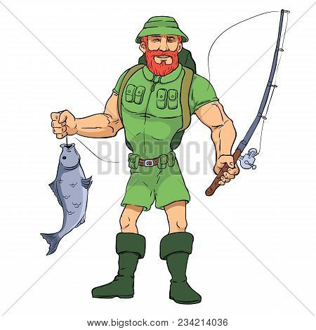 Happy Fisherman Character Hold Big Fish. Vector Flat Cartoon Illustration. Illustration Can Be Used