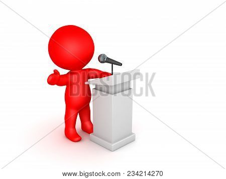 3D Illustration Of An Orator Speaking At A Microphone