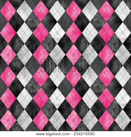 Argyle Seamless Plaid Pattern. Watercolor Hand Drawn Black Gray Pink Texture Background. Watercolour