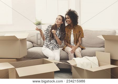 Two Young Women Unpacking Moving Boxes In New Apartment, Viewing Online Order, Holding Green Plant,
