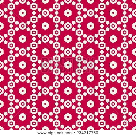 Vector Hexagons Seamless Pattern. Geometric Red And White Hexagonal Background. Vector Geometrical T