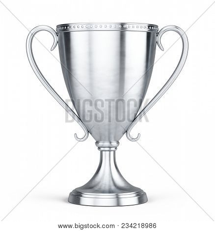 Silver trophy cup isolated on a white background. 3d rendering