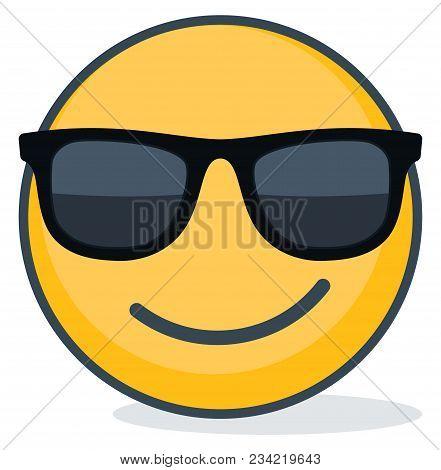 Isolated Emoticon Wearing Black Sunglasses. Isolated Emoticon On White Background