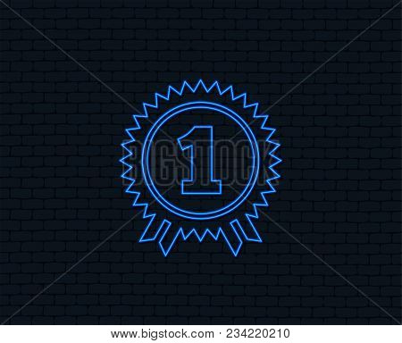 Neon Light. First Place Award Sign Icon. Prize For Winner Symbol. Glowing Graphic Design. Brick Wall