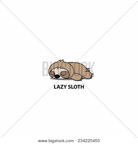 Lazy Sloth, Cute Sloth Sleeping Icon, Logo Design, Vector Illustration