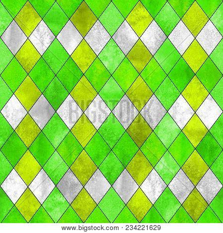 Argyle Seamless Plaid Pattern. Watercolor Hand Drawn Gray Yellow Lemon Green Texture Background. Wat