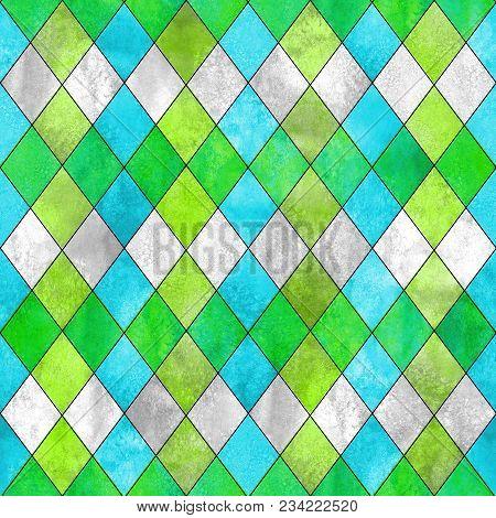 Argyle Seamless Plaid Pattern. Watercolor Hand Drawn Gray Blue Lemon Green Texture Background. Water