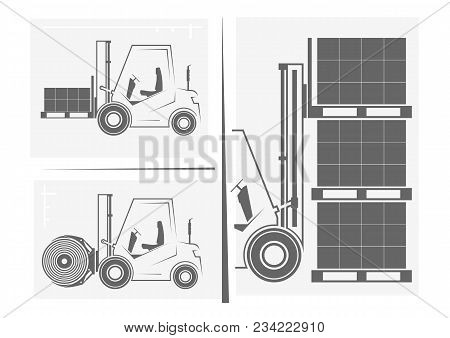 Silhouettes Of Forklifts, Boxes, And Shelves. Forklift Loading Goods. Vector Illustration