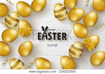Happy Easter Background With Golden Eggs And Serpentine On Wooden Texture. Design Layout For Invitat