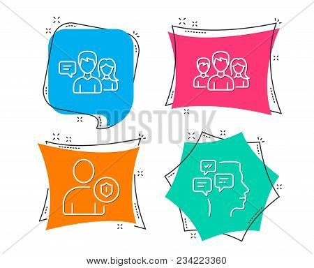 Set Of Teamwork, Security And People Talking Icons. Messages Sign. Group Of Users, Person Protection