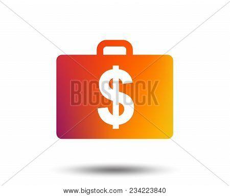 Case With Dollars Usd Sign Icon. Briefcase Button. Blurred Gradient Design Element. Vivid Graphic Fl