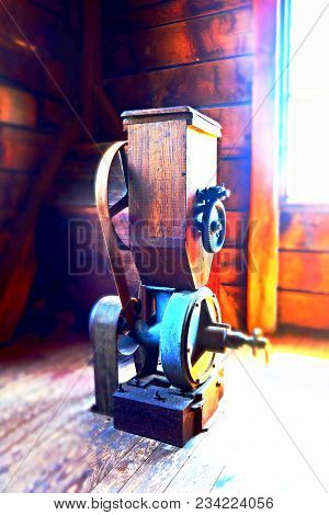 Antique Water Powered Grist Mill Machinery In High Contrast