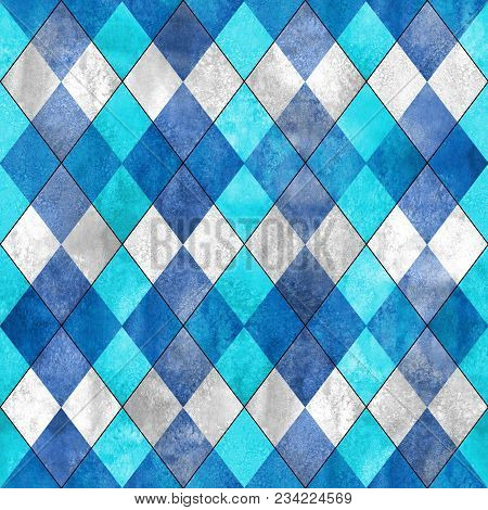 Argyle Seamless Plaid Pattern. Watercolor Hand Drawn Gray Blue Teal Turquoise Texture Background. Wa