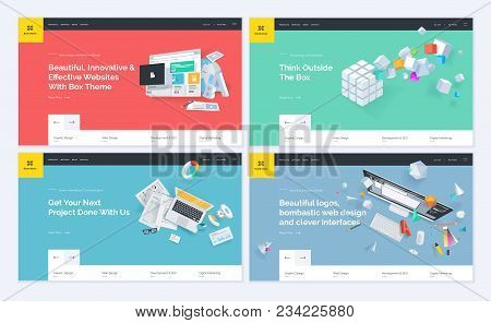 Set Of Website Template Designs. Modern Vector Illustration Concepts Of Web Page Design For Website