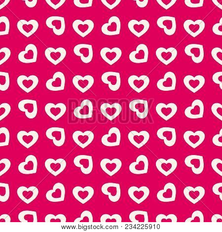 Valentines Day Background. Vector Seamless Pattern With Beige Rotated Hollow Hearts On Red Backdrop.