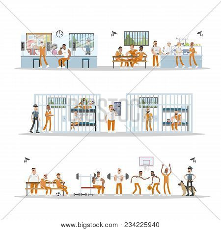Male Prison Interior With Prisoners And Police Officers On White.