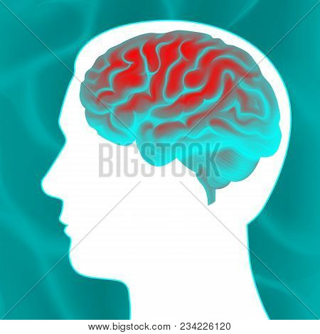 Vector Glowing Turquoise Human Brain With White Head Silhouette Side View Close Up Isolated On Backg