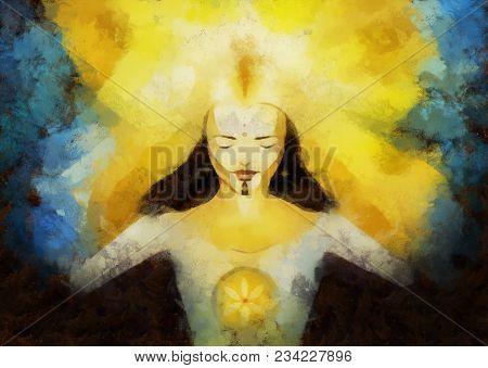 Beautiful Luminous Goddess Of Light And Life