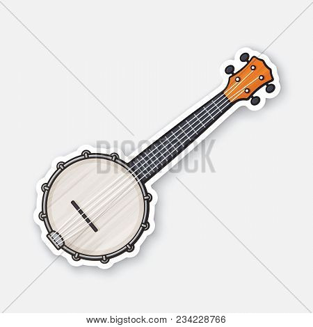 Vector Illustration. Classical Country Music Banjo. String Plucked Musical Instrument. Country Music