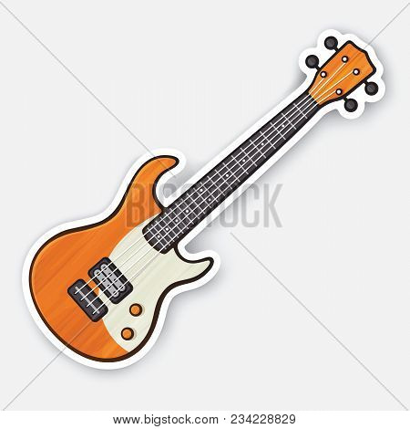 Vector Illustration. Classical Wooden Rock Electro Or Bass Guitar. String Plucked Musical Instrument
