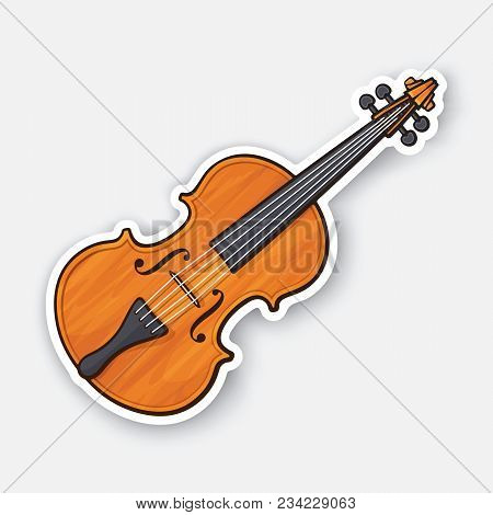 Vector Illustration. Classical Wooden Violin Without A Bow. Stringed Bow Musical Instrument, Chordop