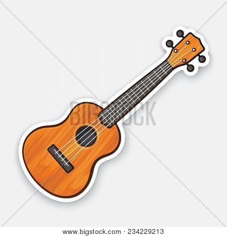 Vector Illustration. Classical Wooden Guitar. String Plucked Musical Instrument. Small Acoustic Guit