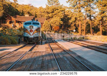 Grand Canyon Railway Train. A Stop At The Grand Canyon Village. Usa. April 10, 2017.