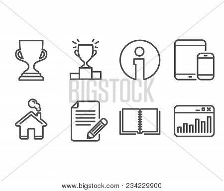 Set Of Book, Article And Award Cup Icons. Mobile Devices, Winner Podium And Marketing Statistics Sig