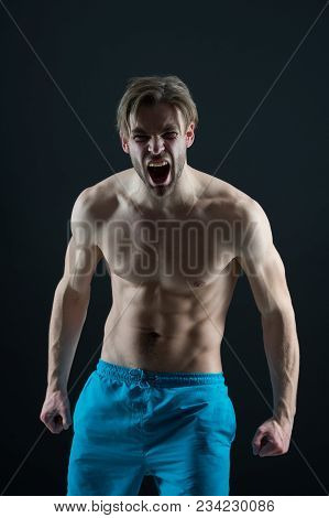Bearded Man Shout With Anger, Health. Angry Macho With Fit Bare Torso, Chest And Belly, Fitness. Ath