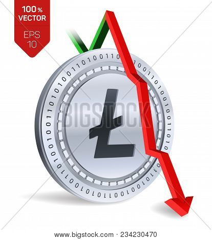 Litecoin. Fall. Red Arrow Down. Litecoin Index Rating Go Down On Exchange Market. Crypto Currency. 3