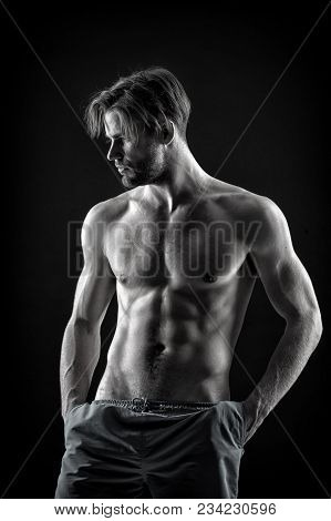 Athlete With Fit Bare Chest And Belly Muscles, Fitness. Athlete With Muscular Torso And Six Pack, Sp
