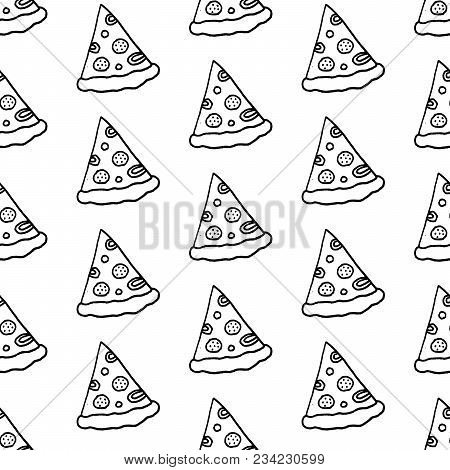 Cute Cartoon Pizza Background With Hand Drawn Pizza Slices. Sweet Vector Black And White Pizza Backg