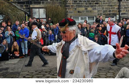 Heptonstall, Uk - March 20 2018: Actors In The Traditional Good Friday Pace Egg Play In Heptonstall