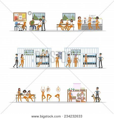 Female Prison Interior Set With Rooms And Canteen. Prisoners With Police Officers On White.