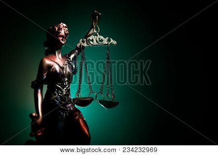 The Statue Of Justice - Lady Justice Or Iustitia / Justitia The Roman Goddess Of Justice On A Dark F