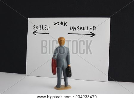 Skilled Or Unskilled Work Decision Choice Options. Little Miniature Figure Manthinking About Future