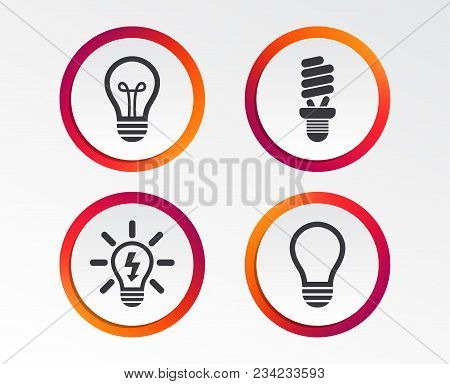 Light Lamp Icons. Fluorescent Lamp Bulb Symbols. Energy Saving. Idea And Success Sign. Infographic D