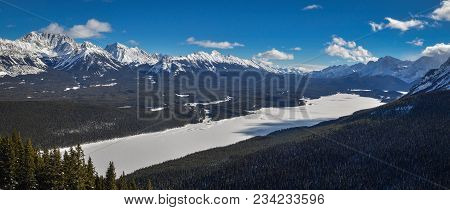 Panoramatic View Of Frozen Kananaskis Lake In Kananaskis Country, Alberta, Canada, Frozen Beauty In